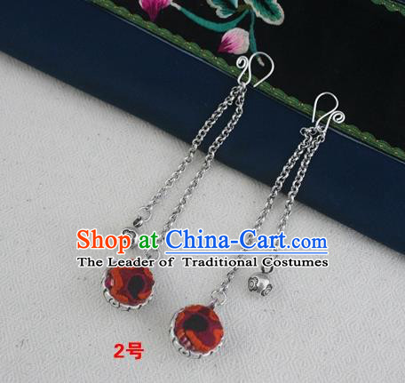 Traditional Chinese Miao Sliver Embroidered Orange Earrings Hmong Ornaments Minority Headwear for Women