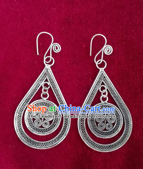Traditional Chinese Miao Sliver Earrings Hmong Ornaments Minority Headwear for Women