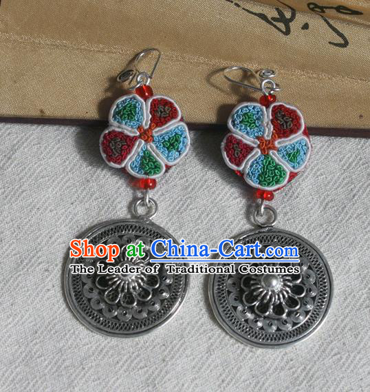 Traditional Chinese Miao Sliver Embroidered Tassel Earrings Hmong Ornaments Minority Headwear for Women