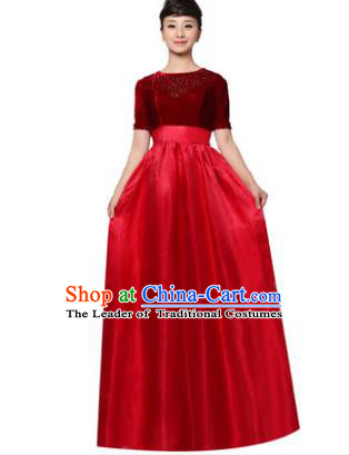 Professional Chorus Singing Group Stage Performance Costume, Compere Modern Dance Wine Red Dress for Women