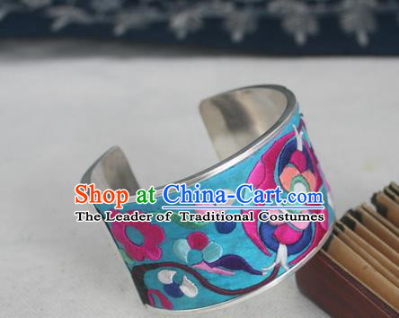 Handmade Chinese Miao Nationality Embroidered Blue Bracelet Traditional Hmong Sliver Bangle for Women