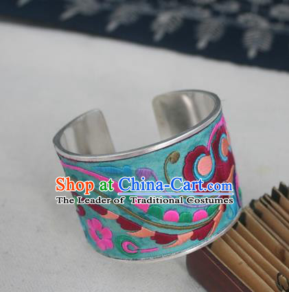 Handmade Chinese Miao Nationality Embroidered Flowers Sliver Bracelet Traditional Hmong Bangle for Women