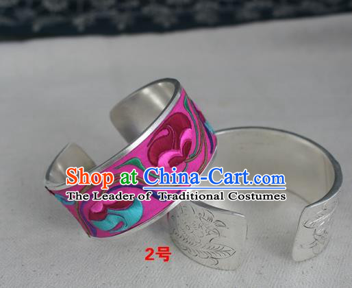 Handmade Chinese Miao Nationality Rosy Embroidered Flowers Sliver Bracelet Traditional Hmong Bangle for Women