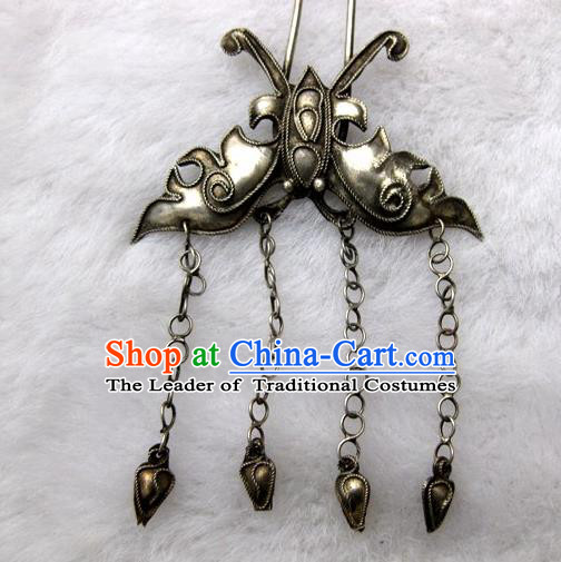 Chinese Traditional Miao Nationality Bronze Butterfly Tassel Hair Clip Hair Accessories Hairpins Headwear for Women