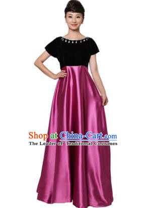 Professional Chorus Singing Group Stage Performance Costume, Compere Modern Dance Purple Dress for Women