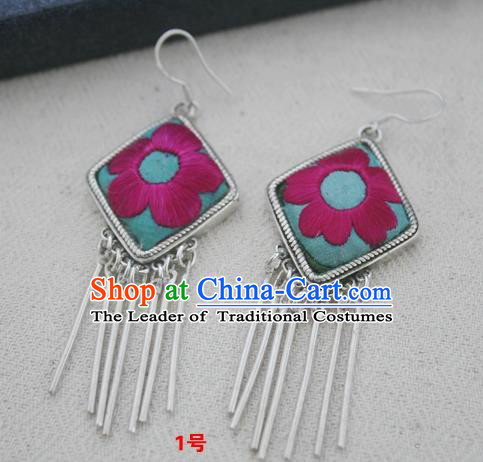 Chinese Traditional Miao Sliver Embroidered Earrings Hmong Ornaments Accessories Minority Eardrop for Women