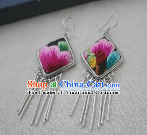 Chinese Traditional Miao Sliver Earrings Hmong Ornaments Accessories Minority Embroidered Flower Eardrop for Women