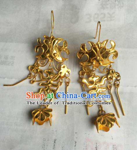 Chinese Traditional Ornaments Accessories Ancient Miao Minority Golden Earrings for Women