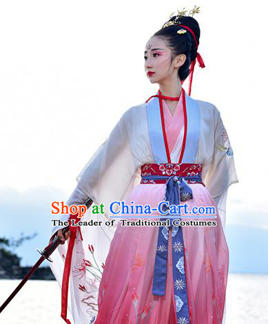 Chinese Tang Dynasty Swordswoman Embroidered Costume Ancient Princess Hanfu Dress for Women