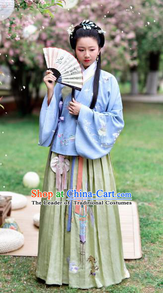 Chinese Ming Dynasty Nobility Lady Embroidered Costume Ancient Palace Hanfu Dress for Women