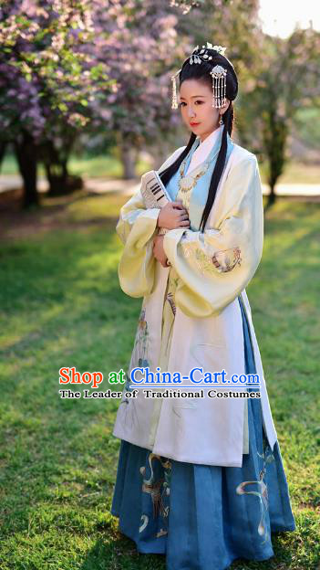 Chinese Ming Dynasty Palace Princess Embroidered Costume Ancient Hanfu Dress Complete Set for Women