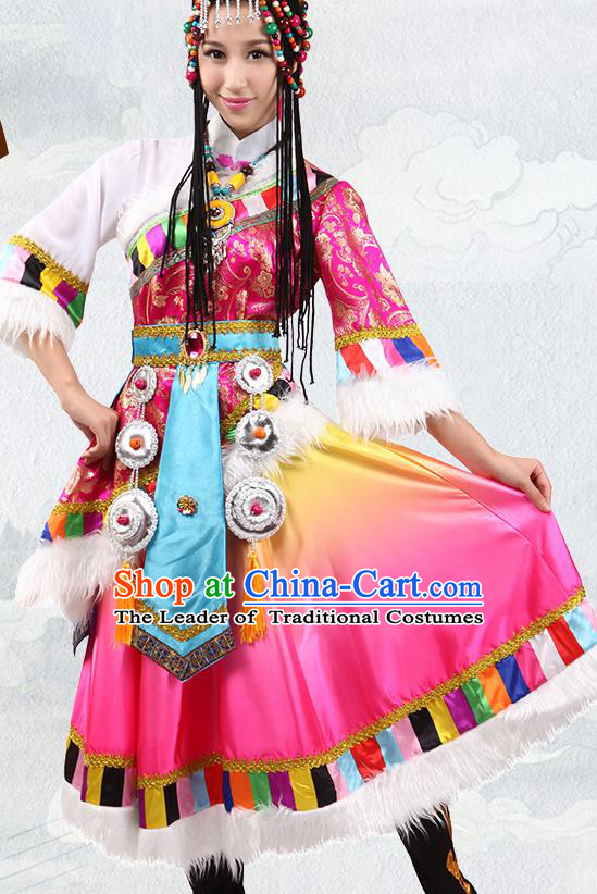 Traditional Chinese Zang Nationality Dance Rosy Costume, Tibetan Minority Folk Dance Ethnic Clothing for Women