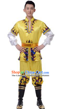 Traditional Chinese Xinjiang Uyghur Nationality Yellow Costume, Uigurian Minority Folk Dance Ethnic Clothing for Men