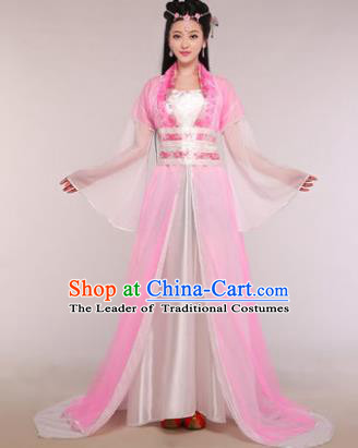 Traditional Chinese Ancient Fairy Costume Tang Dynasty Princess Pink Hanfu Dress for Women