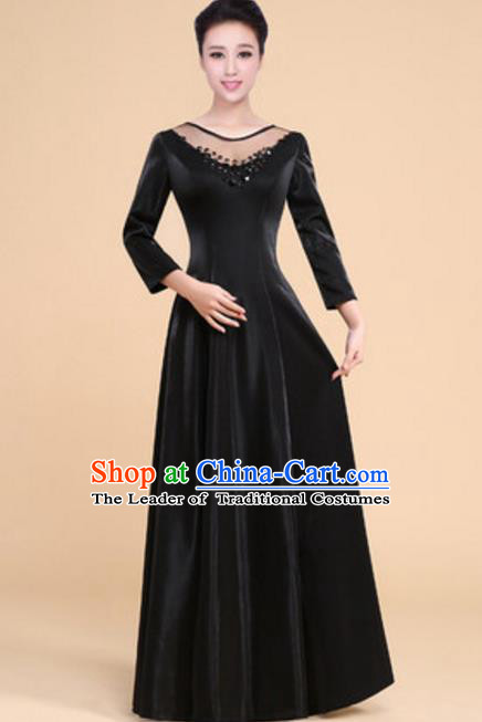 Top Grade Chorus Group Choir Black Full Dress, Compere Stage Performance Modern Dance Costume for Women