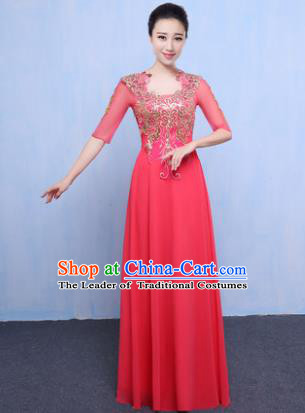 Top Grade Chorus Singing Group Modern Dance Embroidered Pink Dress, Compere Classical Dance Costume for Women