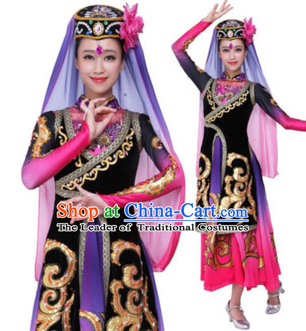 Traditional Chinese Uyghur Nationality Black Dress, Uigurian Minority Folk Dance Ethnic Costume and Hat for Women