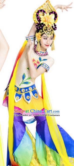 Traditional Chinese Ancient Fairy Costume Dunhuang Flying Apsaras Dance Hanfu Dress and Headpiece for Women