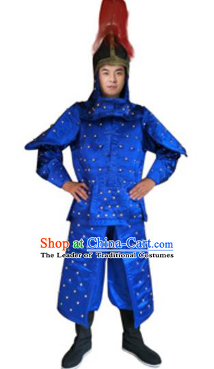 Traditional Chinese Ancient Manchu General Blue Costume Qing Dynasty Warriors Historical Body Armor and Helmet Complete Set