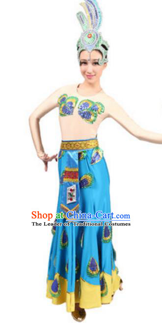 Traditional Chinese Dai Nationality Dancing Costume and Headwear, China Dai Minority Pavane Dance Ethnic Clothing for Women