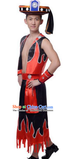 Traditional Chinese Yi Nationality Dancing Costume and Headwear, China Minority Drum Dance Ethnic Clothing for Men