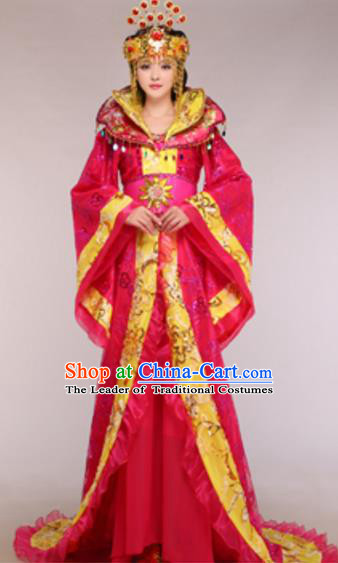 Traditional Chinese Ancient Queen Rosy Costume Tang Dynasty Empress Historical Clothing and Headpiece Complete Set