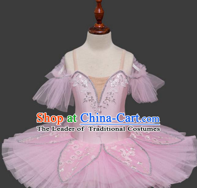 Top Grade Modern Dance Costume Ballet Ballerina Dance Pink Bubble Dress for Women