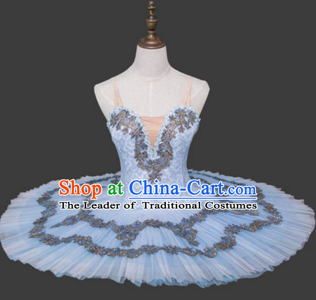 Top Grade Ballet Dance Costume Light Blue Bubble Dress Ballerina Dance Tu Tu Dancewear for Women