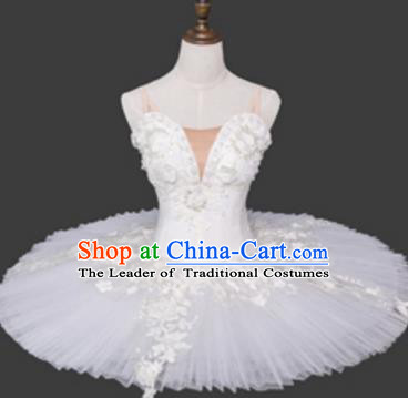 Top Grade Ballet Costume White Bubble Dress Ballerina Dance Tu Tu Dancewear for Women