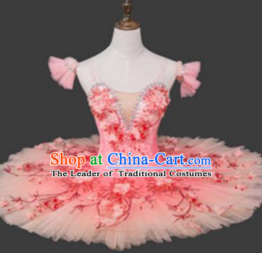 Top Grade Ballet Costume Pink Bubble Dress Ballerina Dance Tu Tu Dancewear for Women