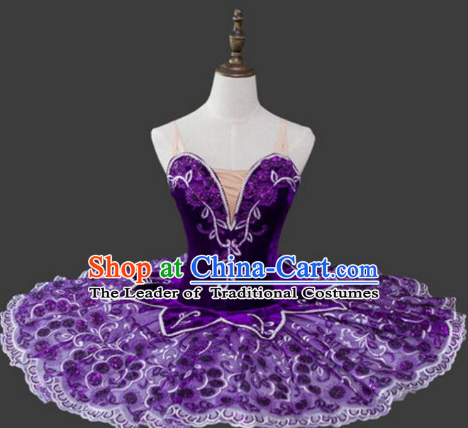 Top Grade Ballet Costume Purple Bubble Dress Ballerina Dance Tu Tu Dancewear for Women