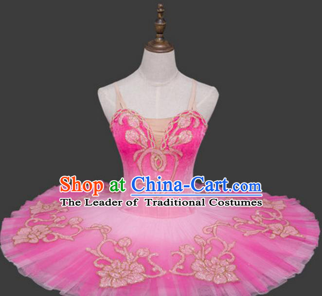 Top Grade Ballet Dance Costume Pink Bubble Dress Ballerina Skirt Tu Tu Dancewear for Women