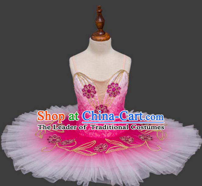 Top Grade Ballet Dance Costume Rosy Bubble Dress Ballerina Skirt Tu Tu Dancewear for Women