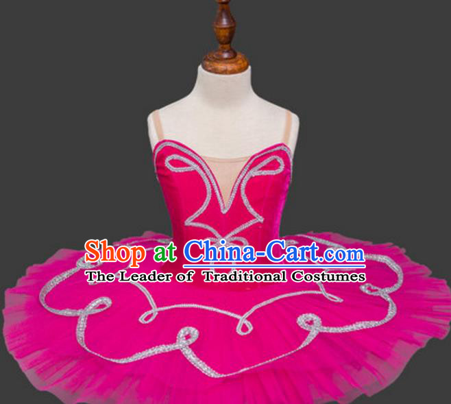 Top Grade Ballet Dance Costume Rosy Dress Bubble Ballerina Skirt Tu Tu Dancewear for Women