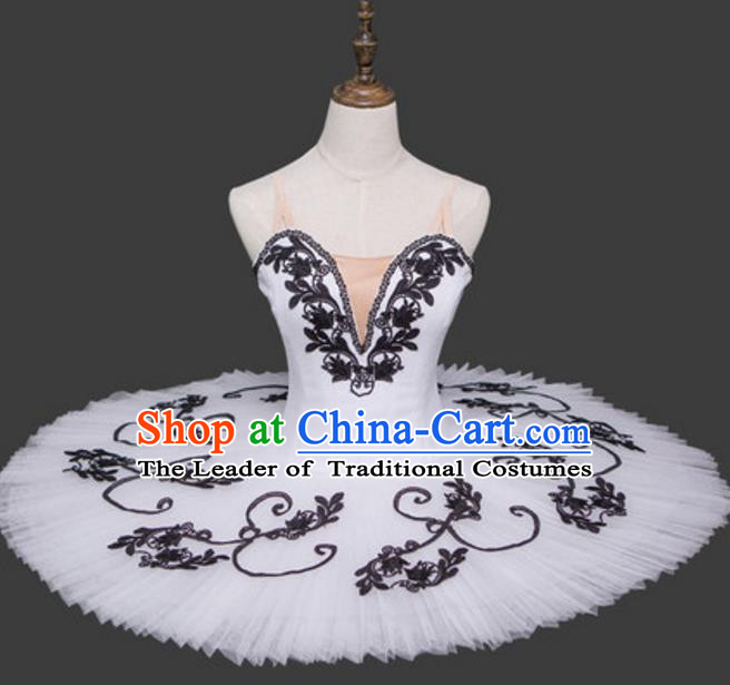 Top Grade Ballet Dance Costume White Dress Bubble Ballerina Skirt Tu Tu Dancewear for Women