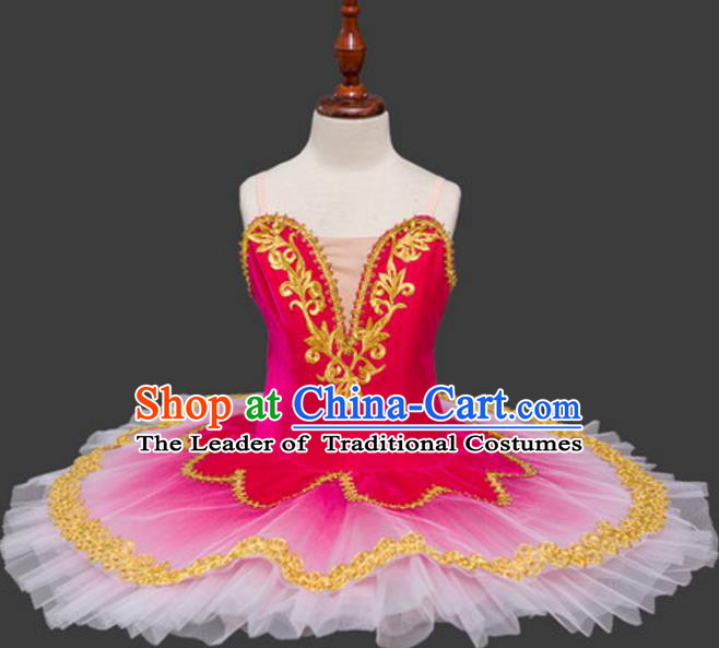 Top Grade Ballet Swan Dance Costume Rosy Veil Dress Ballerina Skirt Tu Tu Dancewear for Women