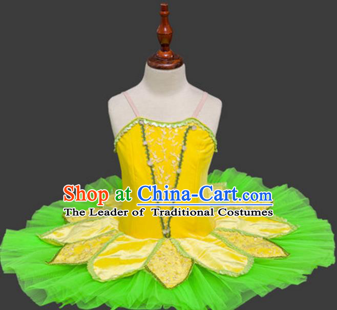 Top Grade Ballet Swan Dance Costume Green Veil Dress Ballerina Skirt Tu Tu Dancewear for Women