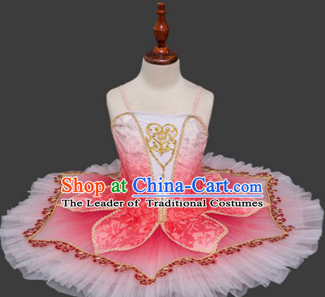 Top Grade Ballet Swan Dance Costume Pink Veil Dress Ballerina Skirt Tu Tu Dancewear for Women