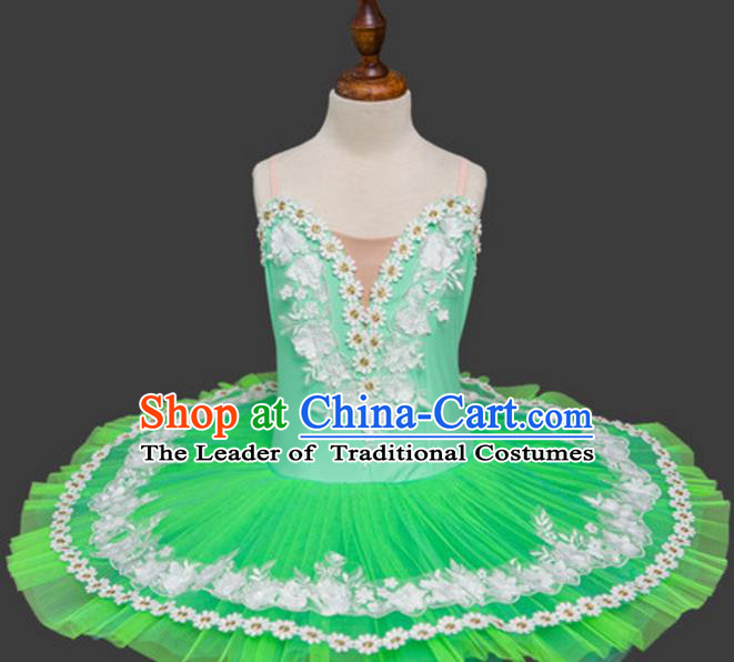 Top Grade Ballet Swan Dance Costume Green Dress Ballerina Skirt Tu Tu Dancewear for Women