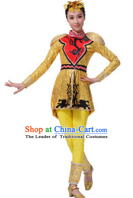 Chinese Traditional Mongol Nationality Yellow Clothing, China Mongolian Minority Drum Dance Costume and Headpiece for Women