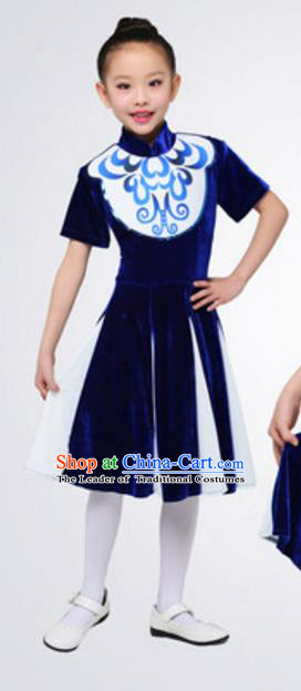 Top Grade Modern Dance Navy Dress Stage Performance Chorus Costume for Kids