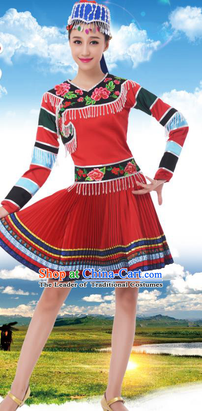 Traditional Chinese Mongolian Nationality Red Dress, China Mongols Minority Ethnic Dance Costume and Headpiece for Women