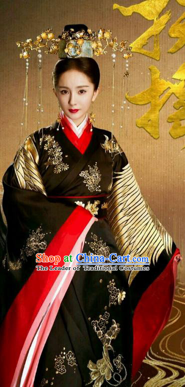 Chinese Ancient Queen Embroidered Hanfu Dress Han Dynasty Empress Historical Costume and Headpiece Complete Set