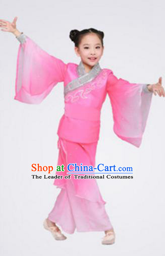 Top Grade Chinese Classical Dance Folk Dance Clothing Stage Performance Yangko Dance Pink Costume for Kids
