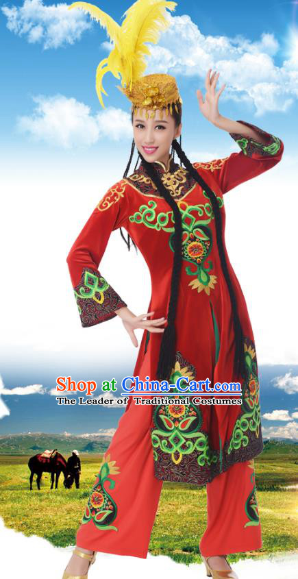 Chinese Traditional Uyghur Nationality Red Dress, China Uigurian Minority Ethnic Dance Costume and Headpiece for Women