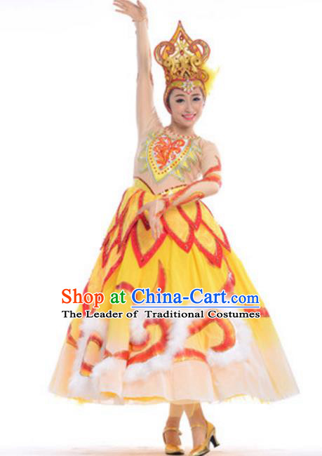 Top Grade Modern Dance Yellow Dress Stage Performance Flowers Dance Costume for Women