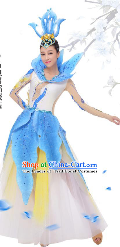 Top Grade Chinese Classical Dance Blue Dress Stage Performance Lotus Dance Costume for Women