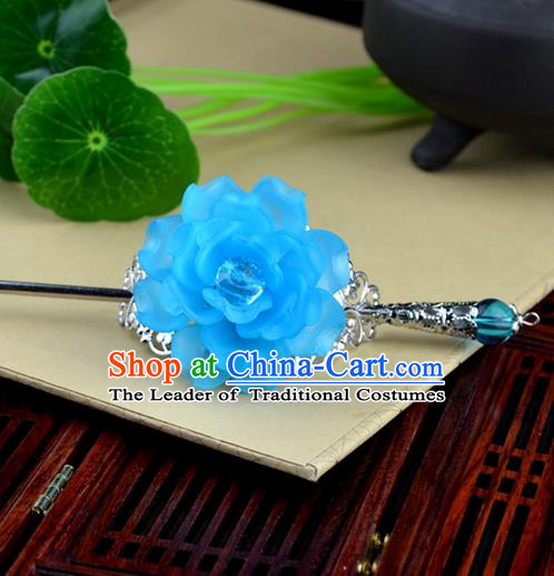 Chinese Traditional Ancient Hair Accessories Hanfu Hairpins Light Blue Peony Hairdo Crown Headwear for Women