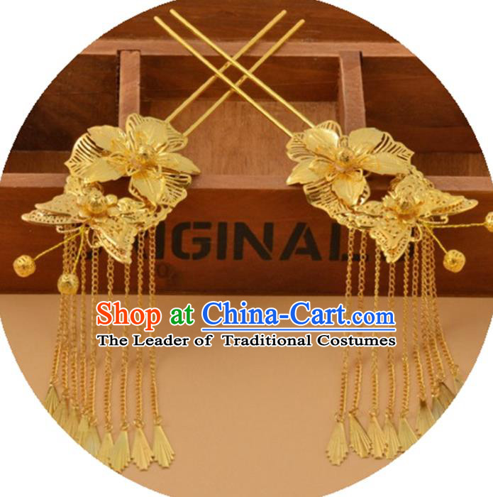 Chinese Traditional Ancient Hair Accessories Hanfu Golden Flowers Butterfly Hairpins Tassel Hair Clip Headwear for Women