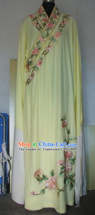 Chinese Traditional Beijing Opera Niche Costumes China Peking Opera Embroidered Peony Yellow Robe for Adults